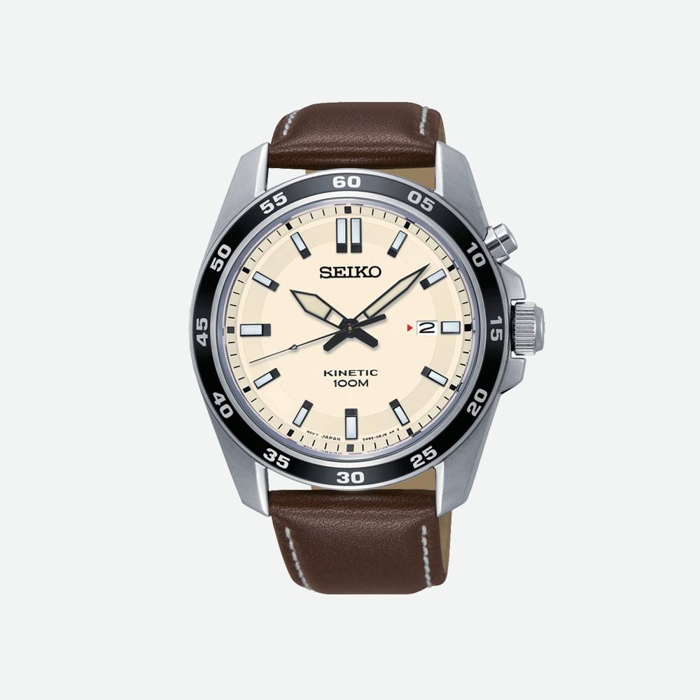 Montre homme Seiko Sport cuir marron Kinetic SKA787P1